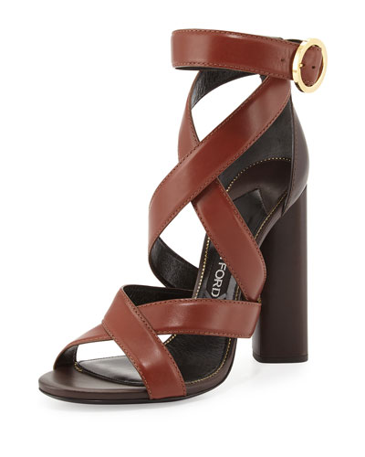 Two-Tone Ankle-Wrap Sandal, Dark Brown