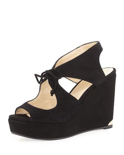 Nayeem Tie-Front Wedge Sandal, Black