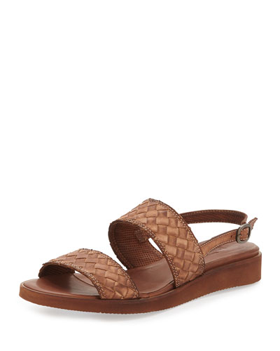 Greta Woven Leather Sandal, Dark Tan
