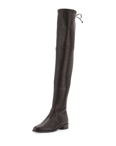 Lowland Leather Over-The-Knee Boot, Nero