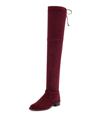 Lowland Suede Over-The-Knee Boot, Bordeaux
