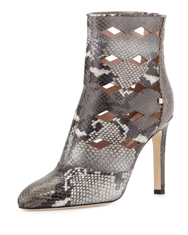 Linda Laser-Cut Snake-Print Boot, Gray