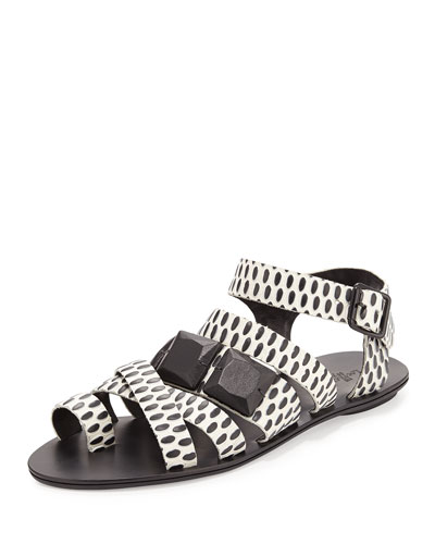 Sedona Embossed-Circles Sandal, Cream/Black