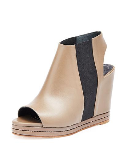 Open-Toe Leather Wedge Bootie, Beige