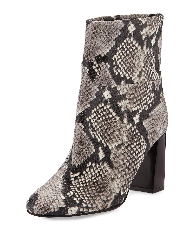 Devon Snake-Print Leather Boot, Black/White
