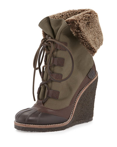 Fairfax Shearling-Lined Wedge Boot, Espresso/New Olive