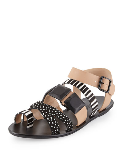 Sedona Multi-Print Calf-Hair Sandal, Wheat/Black/White