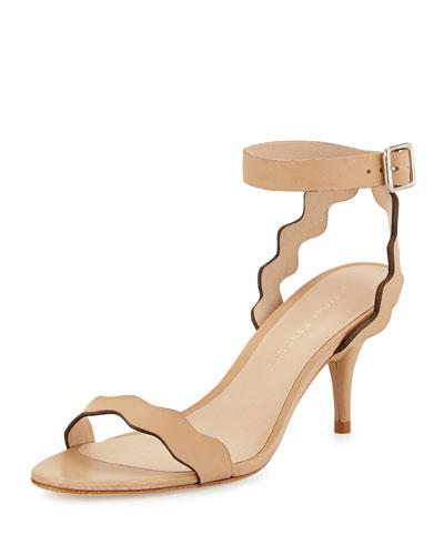 Reina Wavy-Strap Leather Sandal, Wheat