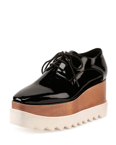 Faux-Patent Lace-Up Loafer, Black