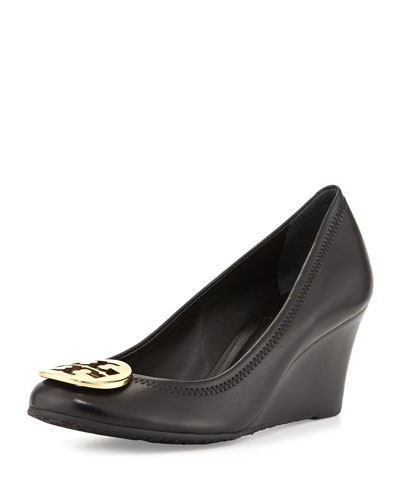 Sally Logo Wedge Pump, Black/Gold