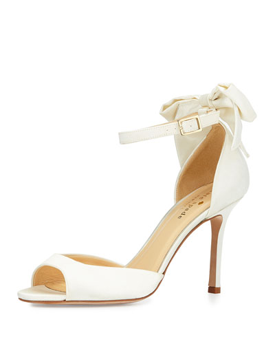 izzie bow-back satin d'orsay pump, ivory