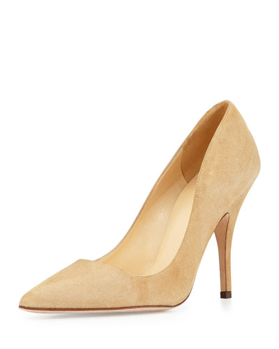 licorice suede point-toe pumps, light camel