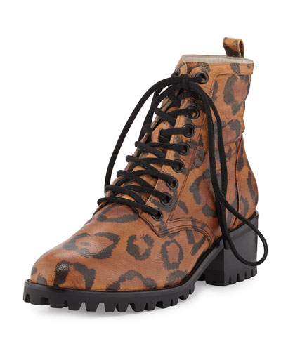 Roxy Leather Combat Boot, Leopard