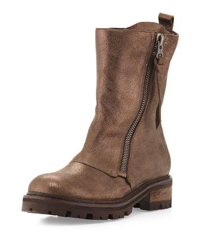 Metallic Dusted Leather Moto Boot, Lead (Piombo)