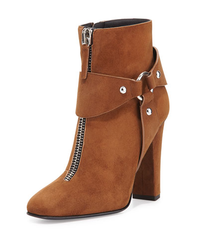 Suede Zip-Front Ankle Bootie, Falcone