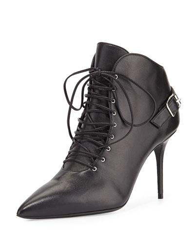 Lucrezia Lace-Up Ankle Bootie, Black (Nero)