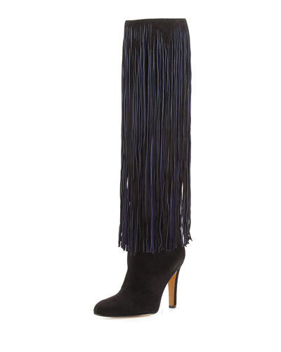 Nelli Suede Fringe Knee Boot, Black