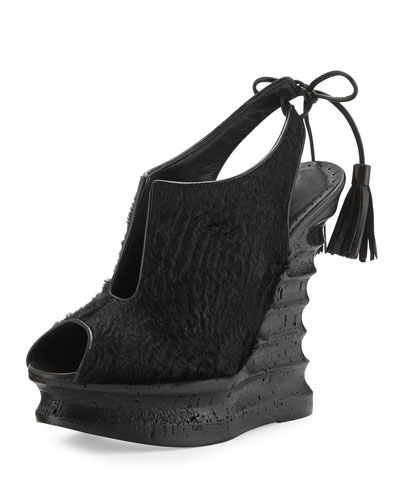 Talita Calf-Hair Wedge Sandal, Black