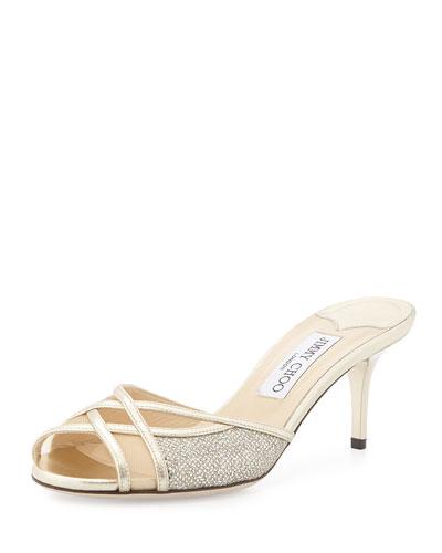 Daze Glittered Slide Sandal, Champagne