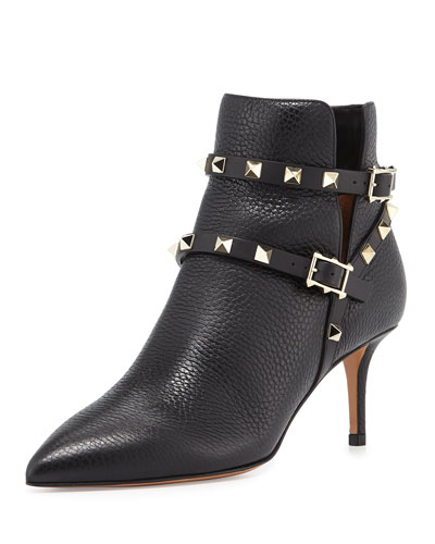 Rockstud Grained Leather 65mm Ankle Boot, Black