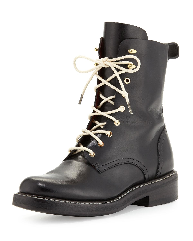 Emil Leather Combat Boot, Black