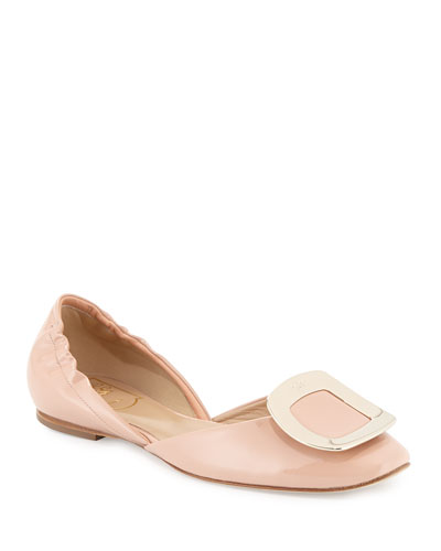 Ballerine Chips Patent d'Orsay Flat, Nude