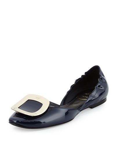 Ballerine Chips Patent d'Orsay Flat, Navy