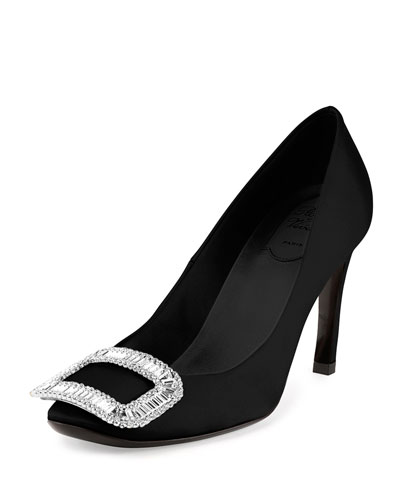 Belle de Nuit Satin Pump, Black