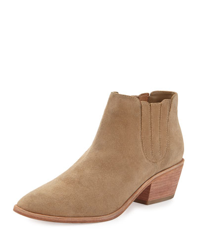Barlow Suede Pointed-Toe Bootie, Cement