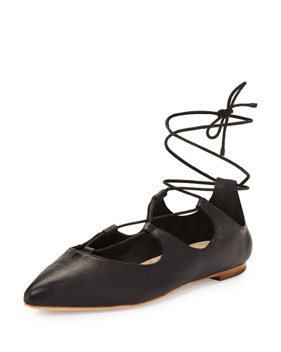 Ambra Lace-Up Ballerina Flat, Black