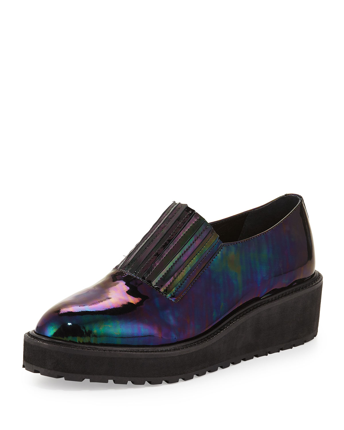 Ria Iridescent Wedge Loafer, Petrol