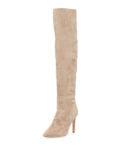Olivia Over-the-Knee Suede Boot, Mousse Tan