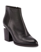 Gabi Tilt-Heel Leather Boot, Black