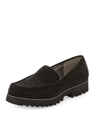 Sparkle Studded Suede Loafer, Black