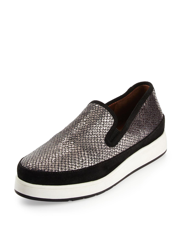 Mickey Snake-Print Leather Sneaker, Gunmetal