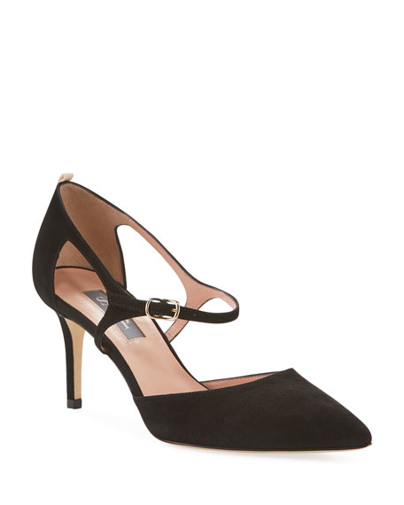 SJP by Sarah Jessica Parker Phoebe Suede Buckle Pumps, Black