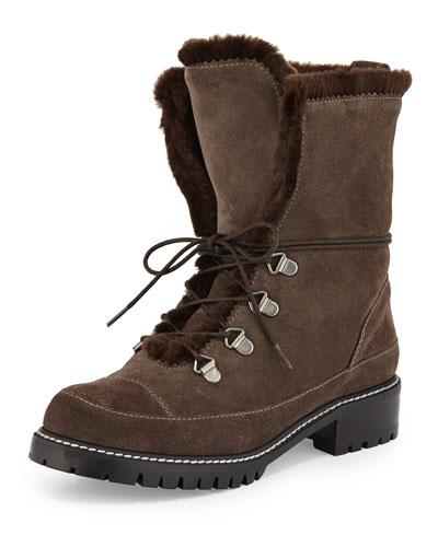 Luge Faux-Fur Hiker Boot, Lead