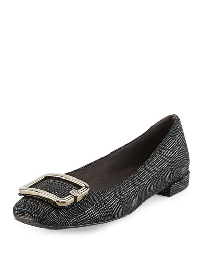 Squared Plaid Buckle Flat, Pewter