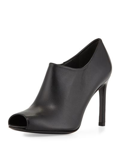 Altamira Leather Peep-Toe Bootie, Black