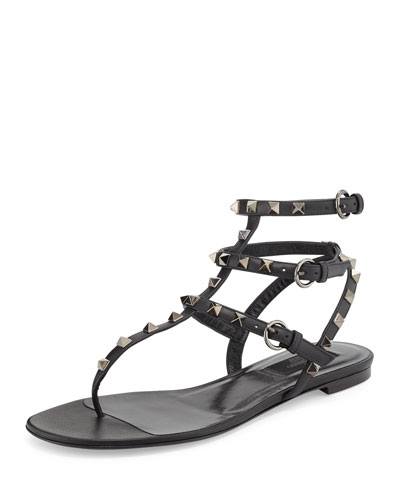 Rockstud Flat Gladiator Sandal, Noir