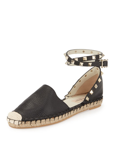 Rockstud Leather Ankle-Wrap Espadrille Flat, Black/Ivory