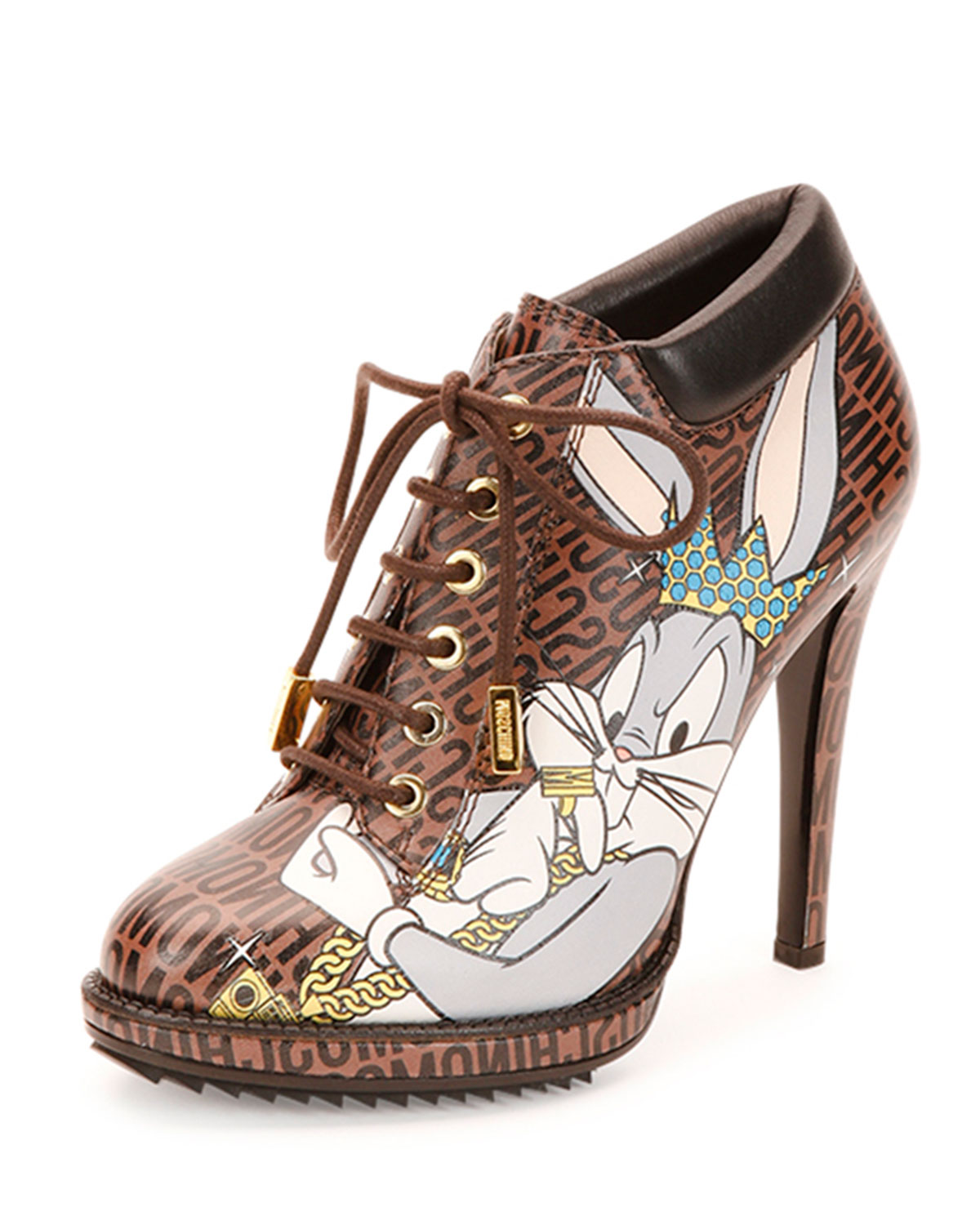 Looney Tunes Leather Stiletto Bootie, Brown/Multi