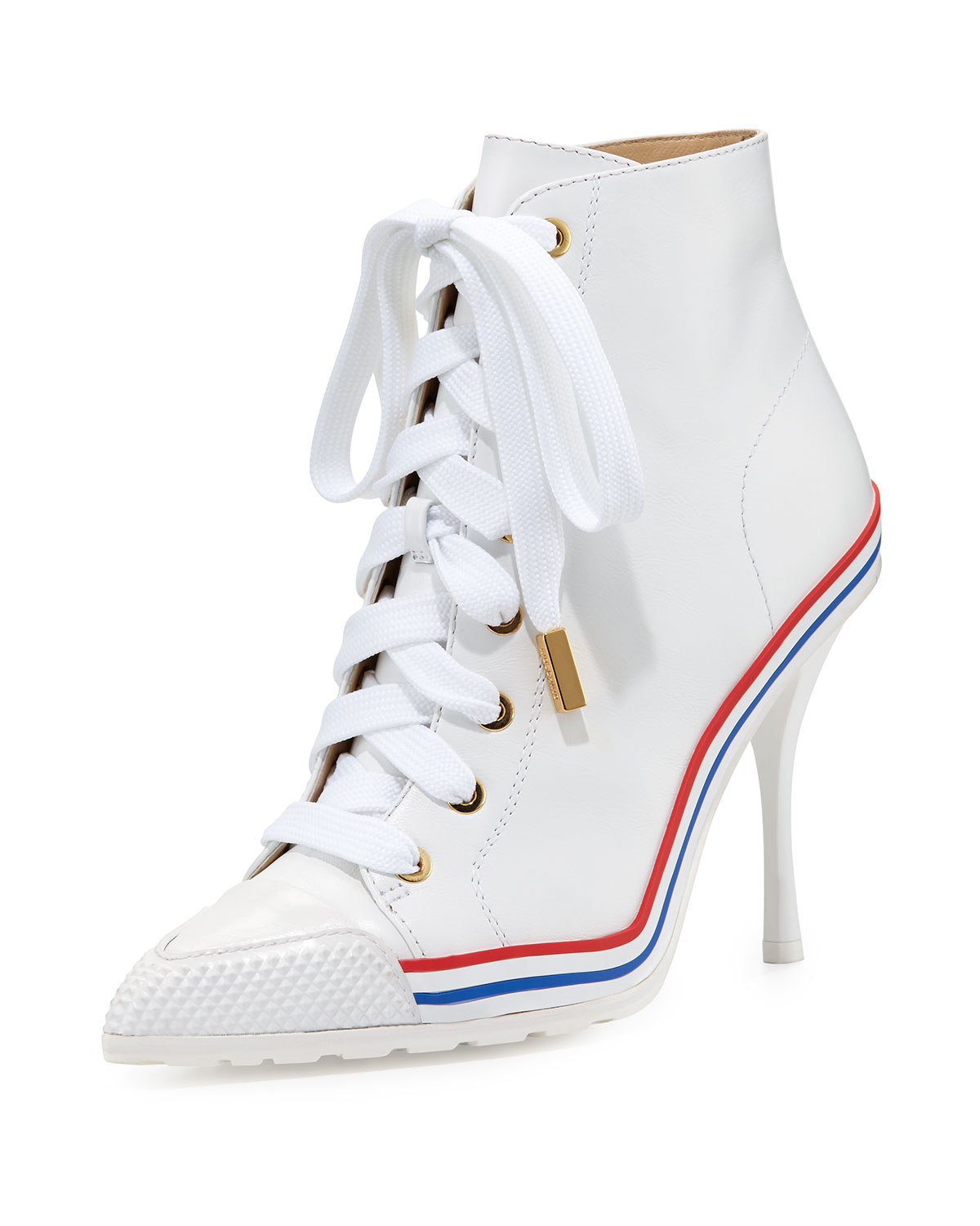 High-Heel Leather Sneaker-Bootie, White