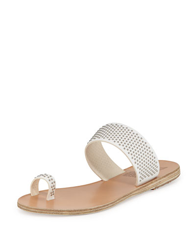 Thraki Studded Toe-Ring Sandal, White