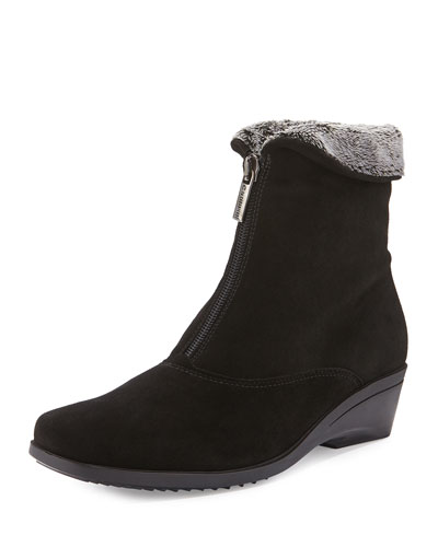 Evitta Faux-Fur Demi-Wedge Boot, Black