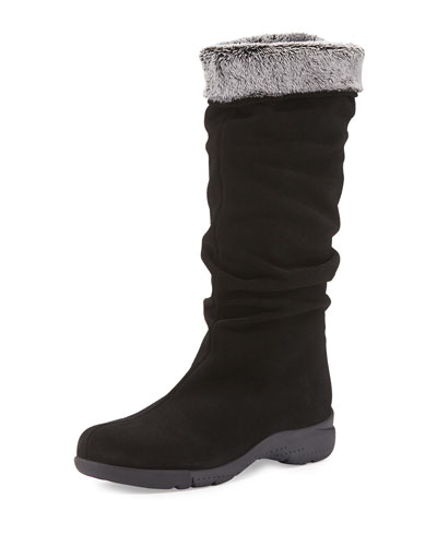 Trevis Slouchy Suede Weather Boot, Black