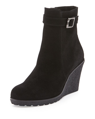 Kimmy Suede Wedge Bootie, Black