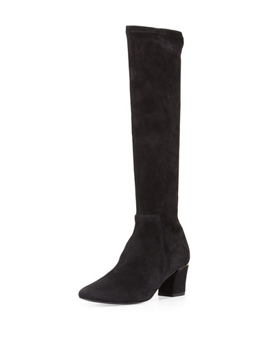 Cyera Stretch-Suede Knee Boot, Black