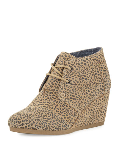 Suede Desert Wedge Bootie, Cheetah