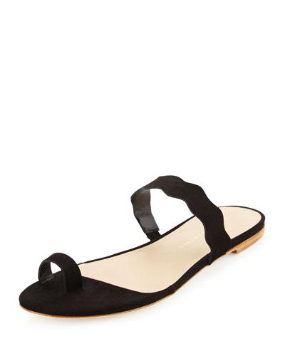 Petal Nubuck Wavy Slide Sandal, Black